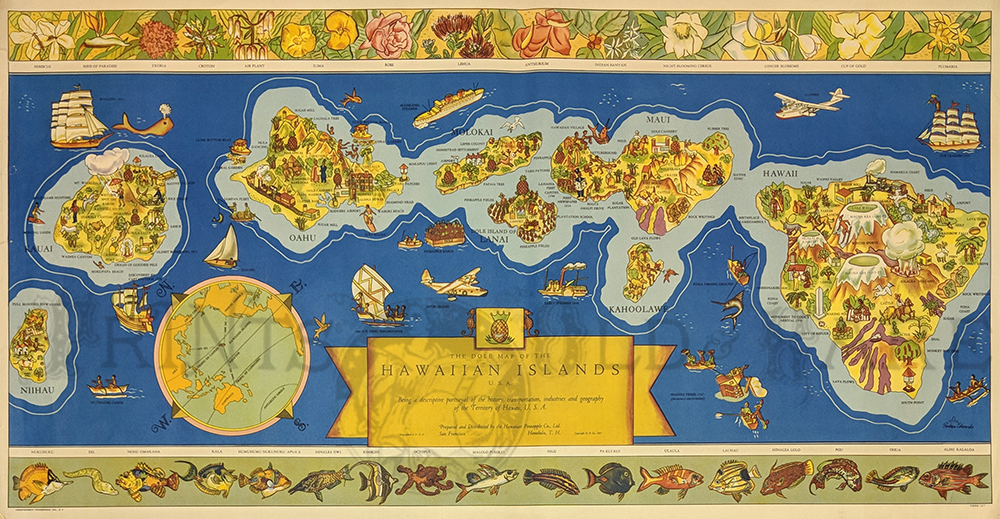 1937 Rare Color Dole Map Of The Hawaiian Islands Cartoon Picture Map By Parker Edwards Of The Islands Before Statehood 35 1 2 X 17 1 2 In