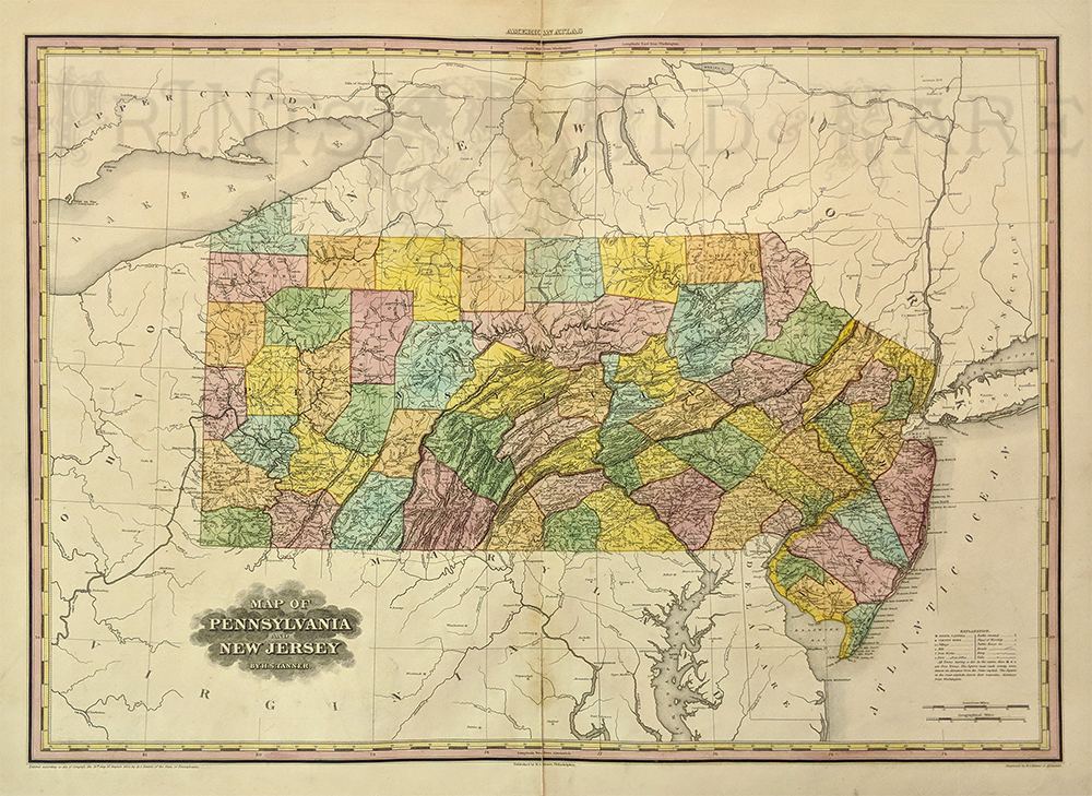 H S Tanner S American Atlas Of 1823 Contained This Spectacular Hand Colored Map Of Pennsylvania And New Jersey Tanner S Is The Most Outstanding Atlas