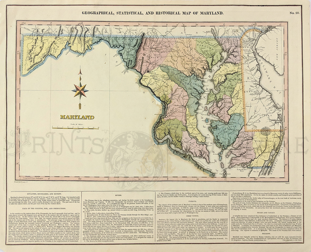 Antique Map Of Maryland 1823 Hand Colored Engraved Map Produced In 1823 Indiana Is Centered With Important Historical Statistical And Geographical