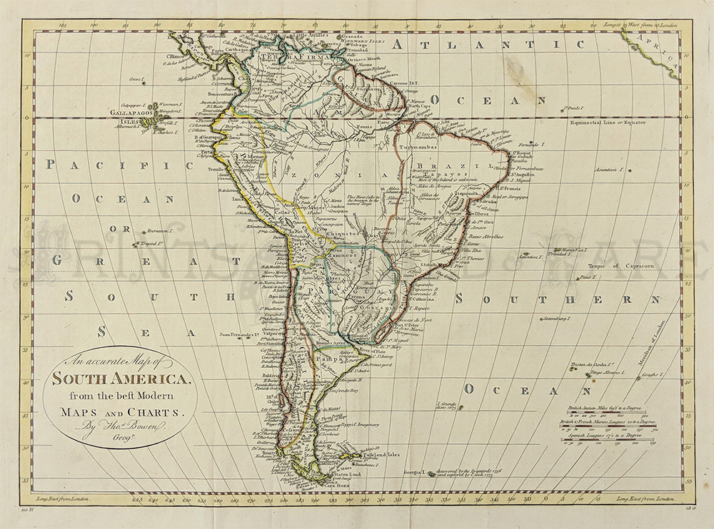 This Beautiful Thomas Bowen Map Of South America Was Done In 1787 And Has Its Original Outline Coloring Title Reads An Accurate Map Of Sosuth America