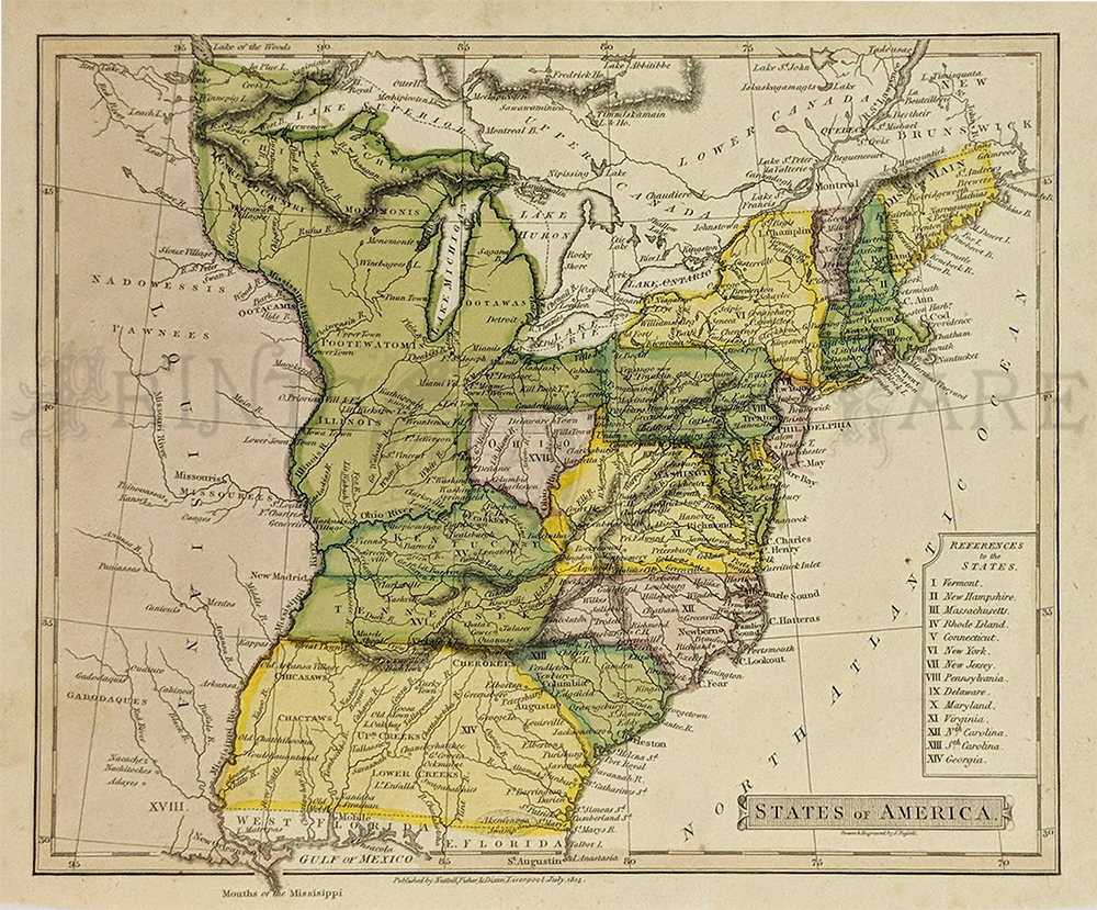1814 Very Rare Hand Colored Copper Engraved Map In Fine Condition Title Of Map Is States Of America And It Shows Georgia Extending To The Mississippi